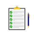 checklist with a pen vector image vector image