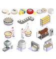 cheese production isometric set vector image vector image