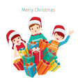 children happy with pile of gifts boxes vector image vector image