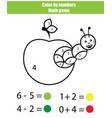 color by numbers mathematics game coloring page vector image vector image