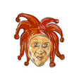 court jester head drawing vector image vector image