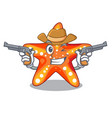 cowboy starfish beside the in character beach vector image