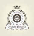 craft beer logo with hop - vintage emblem vector image vector image