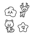 cute cartoon baby cloud star kitten and spotted vector image vector image