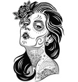day of dead girl black and white vector image vector image
