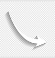 declining arrow sign white icon with soft vector image vector image
