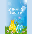 easter poster template with 3d realistic eggs vector image vector image