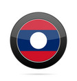flag of laos shiny black round button vector image