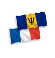flags france and barbados on a white background