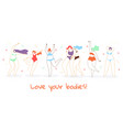 girls in swimsuits standing in row body positive vector image vector image