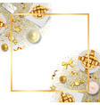 greeting card frame with festive items and glitter vector image vector image