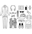 hand drawn sketch with hipster man accessories vector image vector image