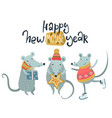 happy ney year greeting card with cute mice vector image