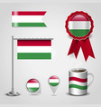 hungary country flag place on map pin steel pole vector image vector image