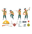 hunters equipment various tools for duck hunters vector image