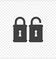 icon of an open and closed lock on a transparent vector image vector image