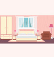 interior bedroom with furniture carpet lamps and vector image vector image