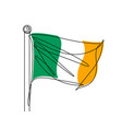 irish flag continuous line vector image vector image