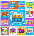 kids zone children game playground banners and vector image vector image