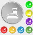 lunch box icon sign Symbol on five flat buttons vector image vector image