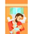 Man feeding baby vector image