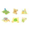 maps icon set cartoon style vector image