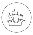 medieval ship icon black color in round circle vector image vector image