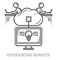 Outsourcing services line icons vector image vector image