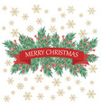 retro christmas card with tree branches and vector image vector image