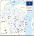 road map us state wisconsin with flag vector image vector image