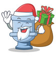 santa with gift toilet character cartoon style vector image vector image
