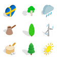 scandinavian country icons set isometric style vector image vector image