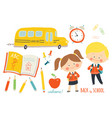 school set characters and objects children in vector image vector image