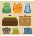 set flat icons - bags and backpacks vector image vector image