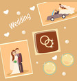 set of wedding photos vector image