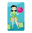 Shopping sale girl showing shopping bag with lable vector image