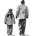 sketch a father with his child going down the vector image vector image
