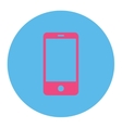 Smartphone flat pink and blue colors round button vector image vector image
