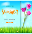 summer sale banner stylish advertisement text vector image vector image