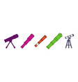 telescope icon set color outline style vector image vector image