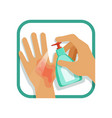 treating hand injury with antiseptic home care vector image vector image