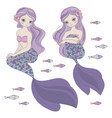 two mermaids sea ocean travel princess illu vector image vector image