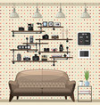vintage modern living room vector image vector image