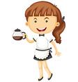 Waitress serving pot of tea vector image vector image