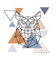 wild owl in geometric style vector image vector image