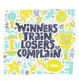 winners train lettering vector image vector image