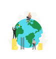 working people clean up and build green planet vector image vector image