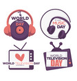 world music and television day logo set with date vector image vector image