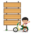 Thai boy and motorcycle by the roadsigns vector image