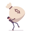 Thief and a giant money sack vector image